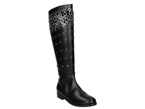 Knee Boots : Alaïa Flats Knee High Boots In Black Calf Leather