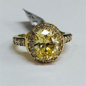 14k yellow gold fancy yellow oval cz halo engagement ring With gold cz wedding rings