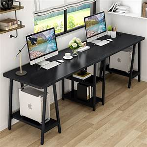Tribesigns, 94, 5, Inches, Computer, Desk, Extra, Long, Two, Person, Desk, With, Storage, Shelf