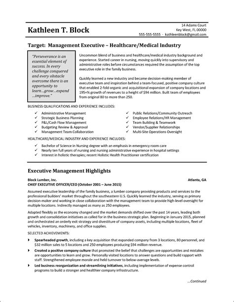 management resume sle healthcare industry