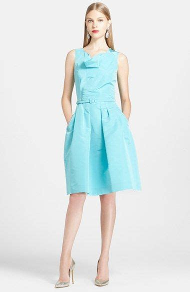 oscar de la renta silk fit flare dress  images