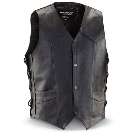 motorcycle jacket vest mossi live to ride leather motorcycle vest black
