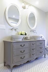 Amazing stunning bathroom tour dresser into double vanity for Old dresser made into bathroom vanity