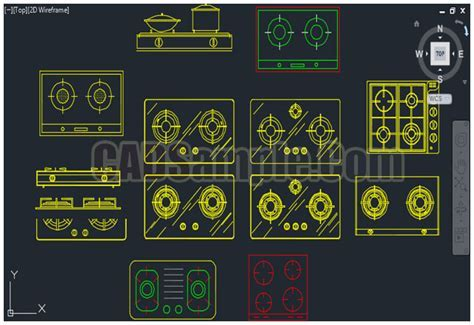 Gas Stove Gas Burners Autocad Drawing » CADSample.Com