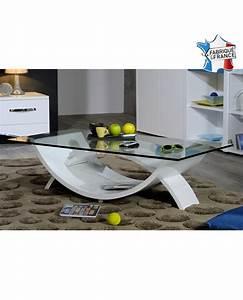 Table Basse Blanche Et Verre : table de salon moderne plateau verre pied design laque blanc ~ Preciouscoupons.com Idées de Décoration