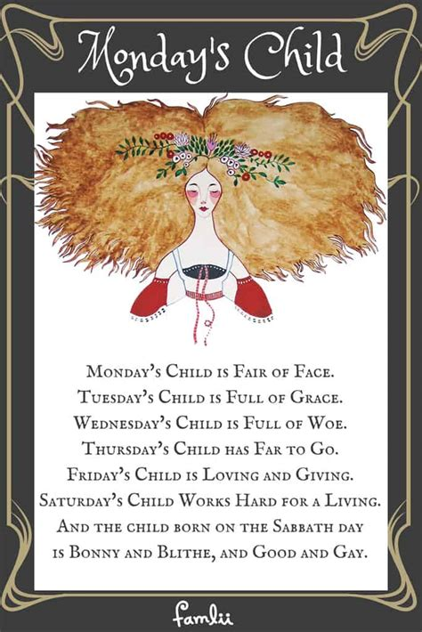 mondays child nursery rhyme poem famlii
