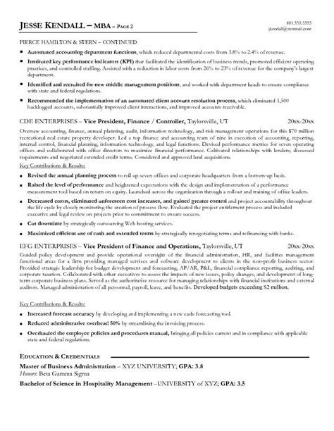free vice president of finance resume exle