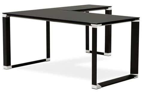bureau noir en verre bureau d 39 angle en verre wallas noir bureau pas cher