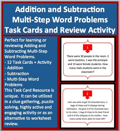 Two Step Subtraction Word Problems