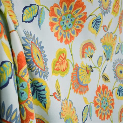 Blue And Orange Upholstery Fabric by Woodcourt Pacific Blue Orange Yellow Green Floral Outdoor