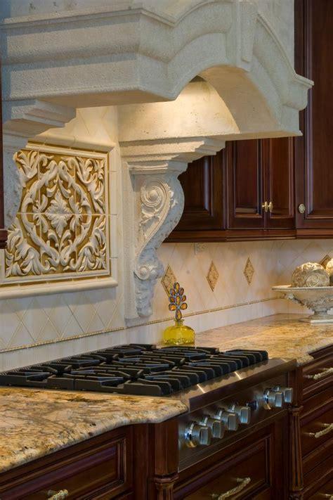 cast stone range hood neutral kitchen backsplash hgtv