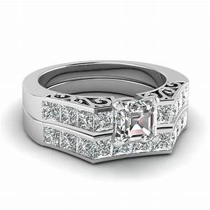 platinum asscher cut wedding sets engagement rings With platinum diamond wedding ring sets