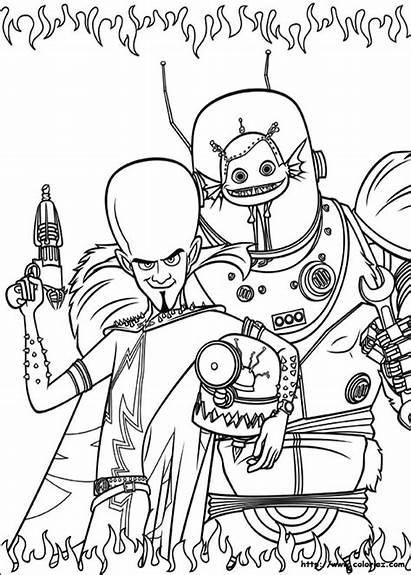Megamind Animation Coloring Movies Printable Drawing Drawings
