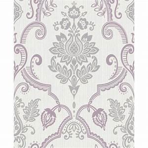 Holden Sandringham Floral Damask Pattern Glitter Vinyl ...
