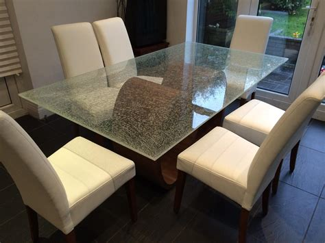 crackle glass table l crackle glass dining table with wood base sets house photos