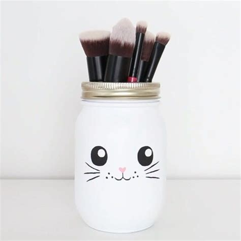 diy makeup brush holder   mason jar