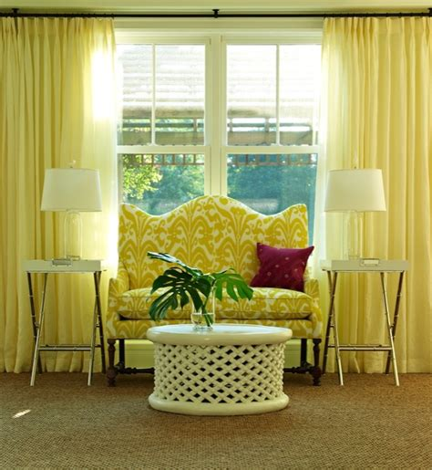 yellow curtains contemporary living room