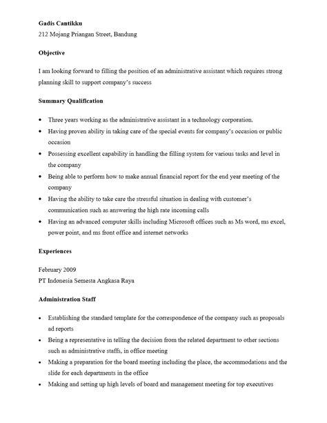 curriculum vitae staf administrasi yang menarik contoh