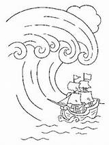Coloring Pages Wave Tsunami Colouring Template Summer Sheets Printable Adult Crafts Outdoor These Drawing sketch template