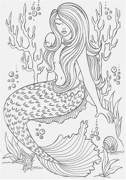 Mermaid Coloring Pages Adults Adult Mermaids Colouring