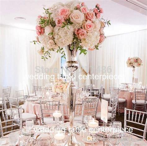 elegant  tall sliver trumpet vase  wedding