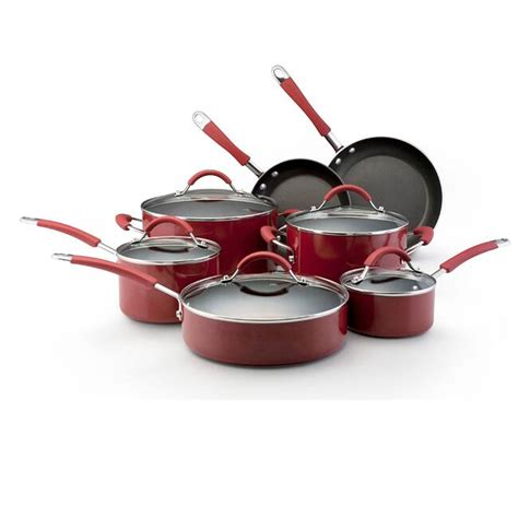 shop kitchenaid porcelain red  piece nonstick cookware set  shipping today overstock