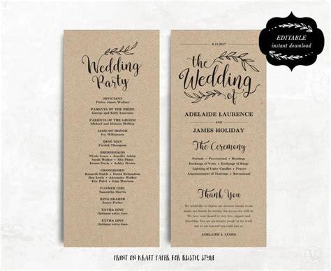 wedding program template text printable wedding program template kraft paper program diy wedding program editable text 4