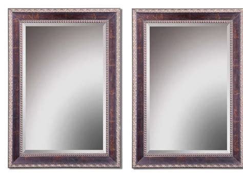 Beveled Edge Bathroom Mirror by Details About Set 2 Beaded Edge Wall Mirror Large Beveled