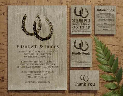 Vintage Horseshoes Wedding Invitation Set/suite, Invites