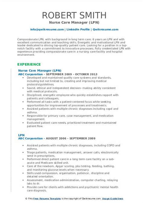 lpn resume samples qwikresume