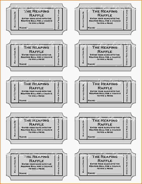 printable ticket template 11 free printable raffle ticket template authorizationletters org