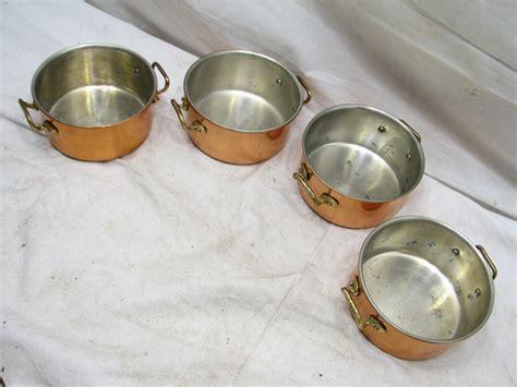 set  small vintage copper pots mini pans casserole copral portugal ebay