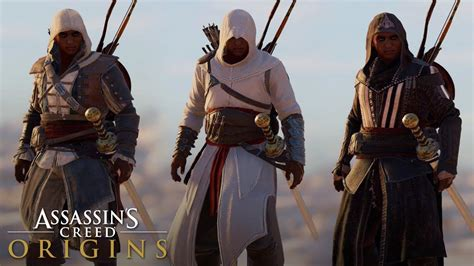 Assassinu0026#39;s Creed Origins - ALL LEGACY OUTFITS (Showcase + Gameplay) - YouTube