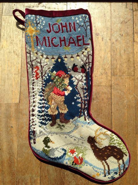 custom designed needlepoint christmas stocking