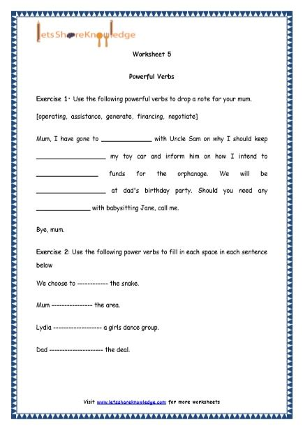worksheets on verbs for grade 4 powerful verbs worksheet year 4 breadandhearth