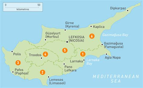 map  cyprus cyprus regions rough guides