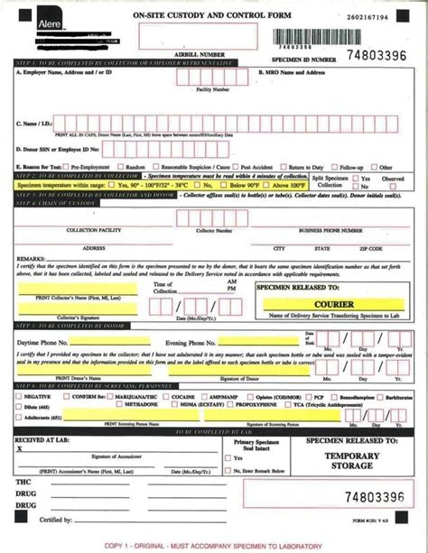 Testing Chain Of Custody Form Template Templates Testing Chain Of Custody Form Template