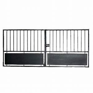 Portail Battant 5 Metres : portail battant fer perruche noir cm x cm leroy merlin ~ Nature-et-papiers.com Idées de Décoration