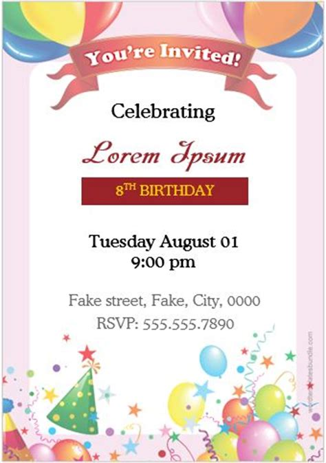 birthday card template microsoft word 2007 birthday invitation cards for ms word formal word