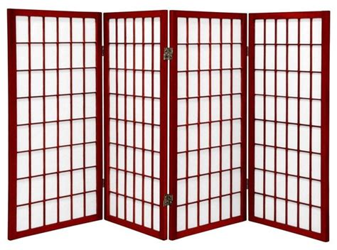 Ft. Tall Window Pane Shoji Screen-rosewood-panels