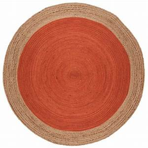 tapis rond orange a contour beige en jute tisse a la main With tapis rond orange