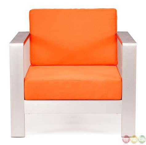 cosmopolitan orange arm chair cushions zuo modern 701841