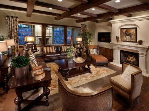 traditional living room  masculine finishes hgtv