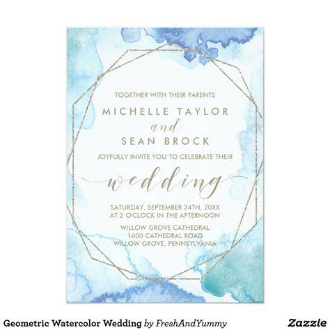Geometric Watercolor Wedding Invitation Zazzle com