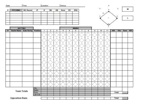 printable baseball scoresheet scorecard templates