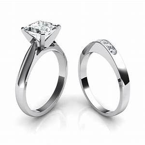 Tapered cathedral princess cut solitaire engagement ring for Wedding ring engagement ring set