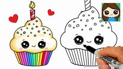 Cupcake Drawing Birthday Cake Draw Drawings Easy