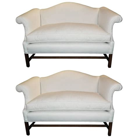 chippendale settee pair of chippendale style camelback sofa or settees