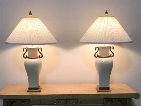 pair  vintage chapman porcelain brass table lamps