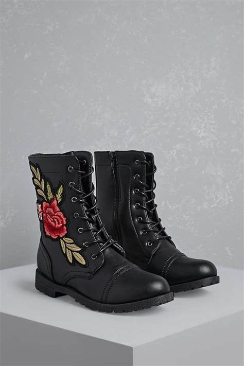Forever Floral Patch Combat Boots Cheap Fall Shoes